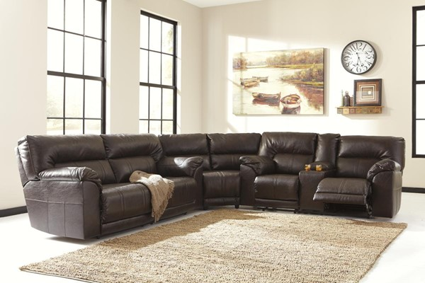 Barrettsville DuraBlend Chocolate Power Sectional W/Console Loveseat 47301-SEC12