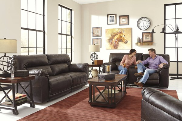 Barrettsville DuraBlend Chocolate Fabric Leather 3pc Living Room Sets 47301-LR-S