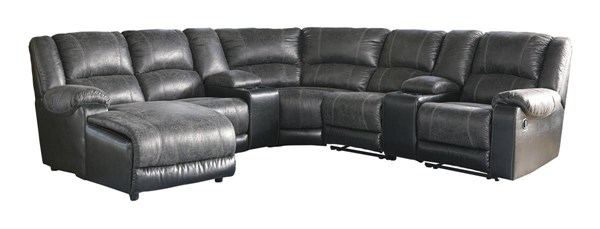 Ashley Furniture Nantahala Slate LAF Chaise and Two Console Sectional 50301-SEC6