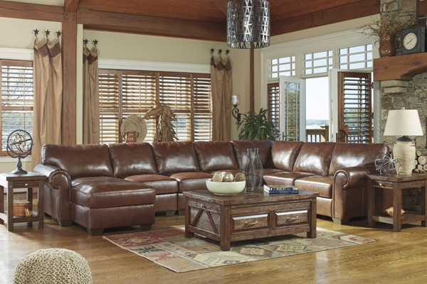 Lugoro Traditional Saddle Leather Wood Living Room Set 506021-LR