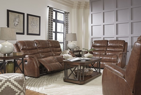 Metcalf Contemporary Nutmeg Leather 3pc Living Room Set 509031-LR-S1