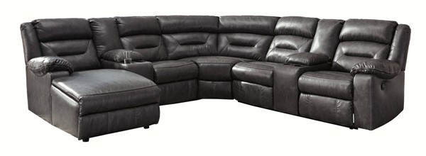 Ashley Furniture Coahoma Dark Gray 7pc LAF Sectionals With Console 51103-SEC7-VAR
