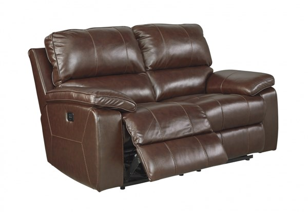 Transister Contemporary Coffee Leather Power Reclining Loveseat 5130214
