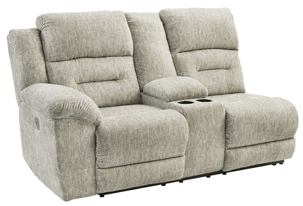 Ashley Furniture Family Den Pewter LAF Power Recline Loveseat With Consol 5180201