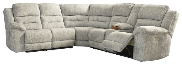 Ashley Furniture Family Den Pewter 3pc Power RAF Consol Sectional 51802-SEC-S2