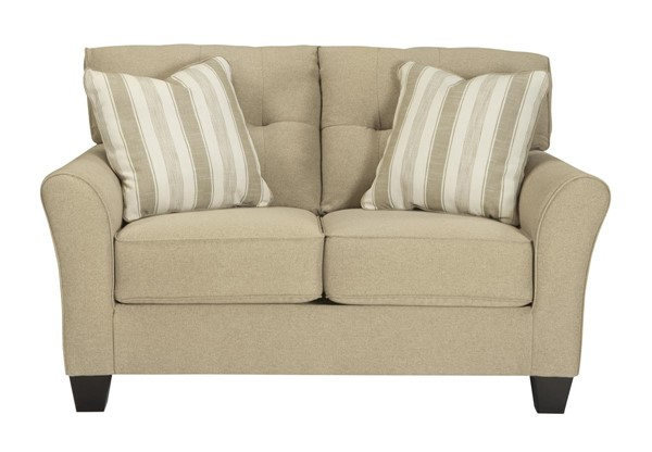 Laryn Contemporary Khaki Flared Arms & Tufted Back Loveseat 5190235