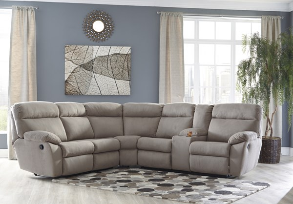 Demarion Contemporary Smoke Fabric Sectional W/Console 52302-SEC