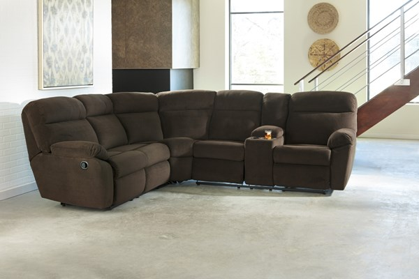 Demarion Contemporary Chocolate Fabric Sectional W/Console 52303-SEC
