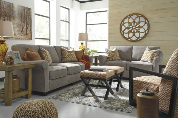 Leola Contemporary Slate Curry Solid Wood Fabric 3pc Living Room Set 53601-LR-S1