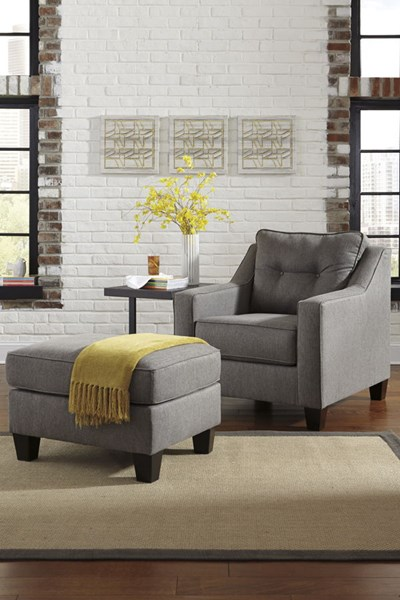 Brindon Contemporary Charcoal Chair & Ottomans Set 53901-CHO