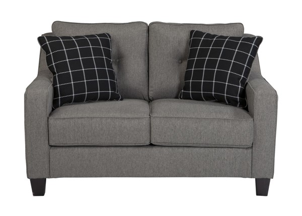 Brindon Contemporary Charcoal Pillow Back Loveseat 5390135