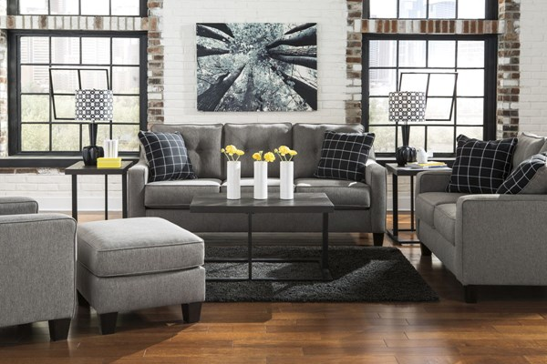 Brindon Contemporary Charcoal Fabric Wood 3pc Living Room Set 53901-LR-CH-S1