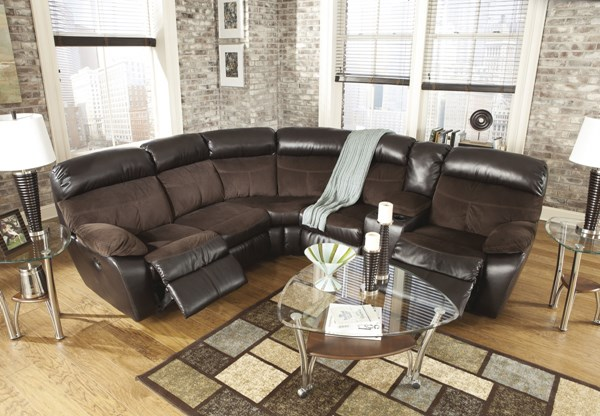 Berneen Contemporary Coffee Fabric Sectional Reclinings 54501-SEC-VAR