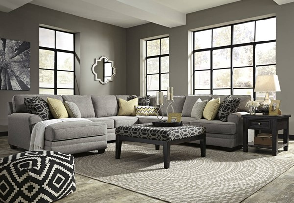 Cresson Pewter Fabric Wood Sectionals W/LAF Corner Chaise & Ottoman 54907-SEC-VAR3