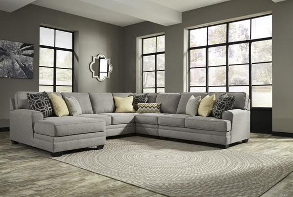 Cresson Contemporary Canary Pewter Fabric Solid Wood Living Room Set 54907-LR