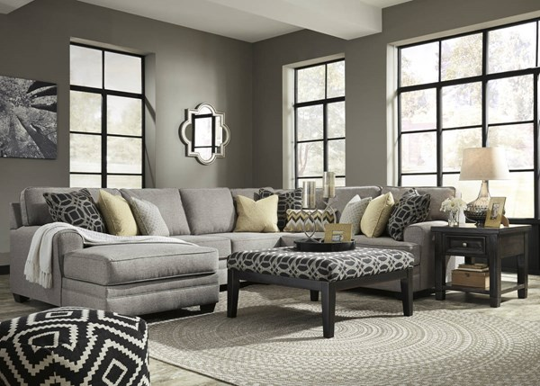 Cresson Pewter Fabric Solid Wood Sectionals W/LAF Chaise & Ottoman 54907-SEC-VAR4