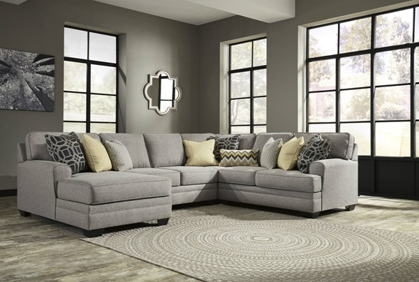Cresson Pewter Fabric Solid Wood Sectional W/LAF Corner Chaise 54907-SEC3