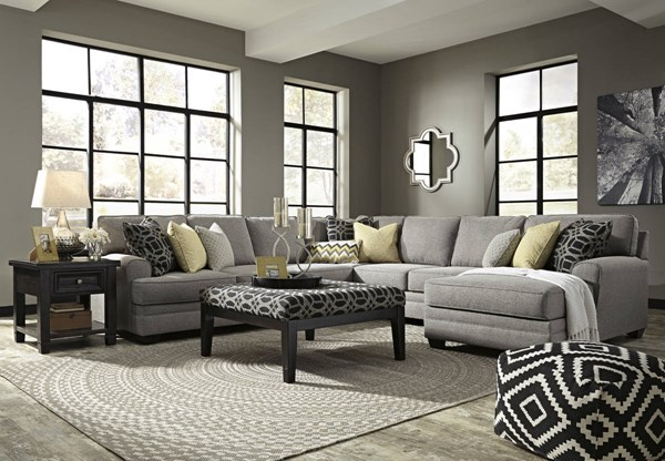 Cresson Pewter Fabric Wood Sectional W/RAF Corner Chaise & Ottoman 54907-SEC6