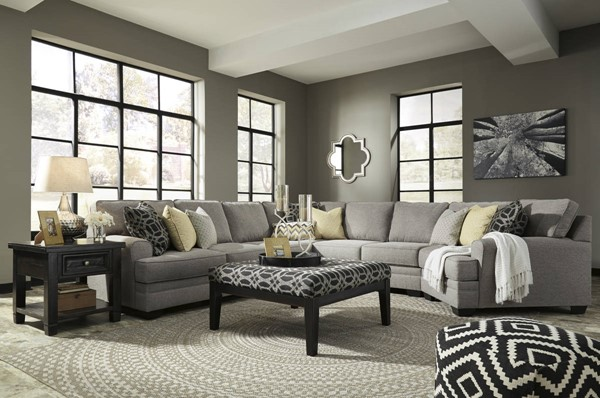 Cresson Contemporary Pewter Fabric Wood Sectionals W/Cuddler & Ottoman 54907-SEC-VAR7