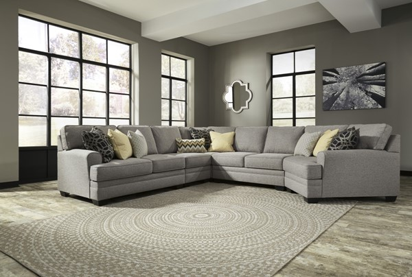 Cresson Contemporary Pewter Fabric Solid Wood Sectionals W/RAF Cuddler 54907-SEC-VAR5