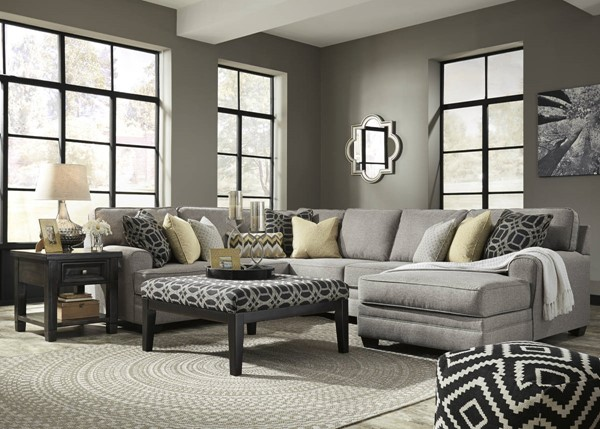 Cresson Pewter Fabric Solid Wood Sectional W/RAF Chaise & Ottoman 54907-SEC10