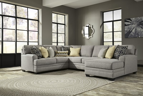 Cresson Contemporary Pewter Fabric Wood Sectional W/RAF Chaise 54907-SEC9