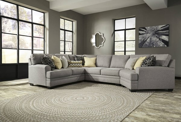 Cresson Contemporary Pewter Fabric Solid Wood Sectionals W/Cuddler 54907-SEC-VAR6