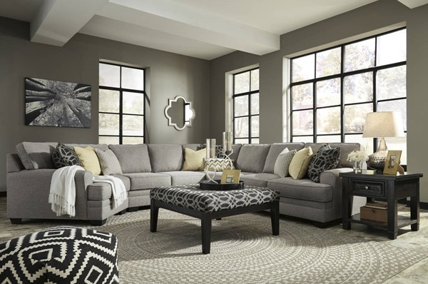 Cresson Pewter Fabric Solid Wood Sectional W/LAF Cuddler & Ottoman 54907-SEC14