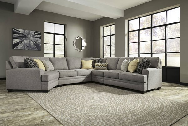 Cresson Contemporary Pewter Fabric Solid Wood Sectional W/LAF Cuddler 54907-SEC13