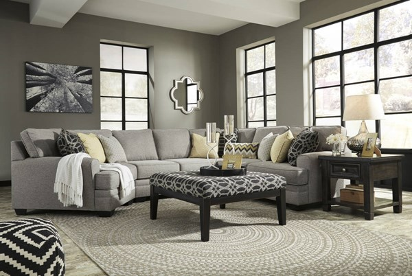 Cresson Pewter Fabric Wood Sectional W/LAF Cuddler & Ottoman 54907-SEC16