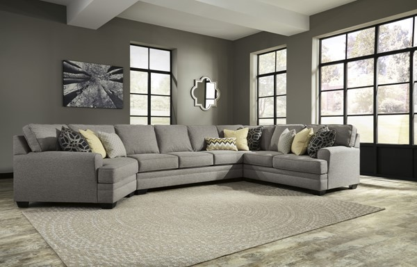 Cresson Contemporary Pewter Fabric Solid Wood LAF Cuddler 5490776