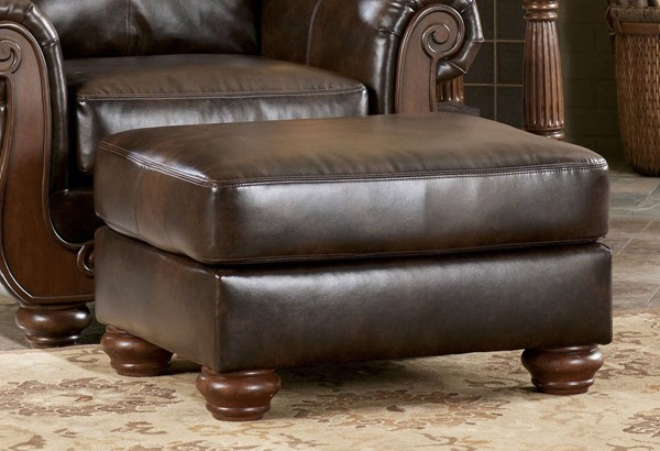 Barcelona Traditional Antique Faux Leather Rectangle Ottoman 5530014