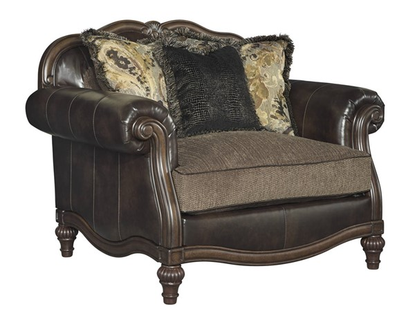 Winnsboro DuraBlend Traditional Vintage Wood Fabric Chair And A Half 5560223