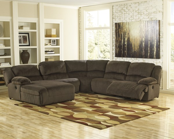 Toletta Chocolate Polyester 5pc Sectional w/LAF Press Back Chaise 56701-SEC-S4