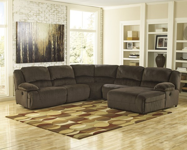 Toletta Chocolate Polyester 5pc Sectional w/RAF Press Back Chaise 56701-SEC-S5
