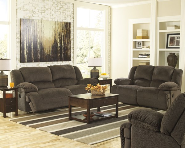 Toletta Chocolate Polyester 3pc Living Room Set w/Reclining Power Sofa 56701-LR-S1
