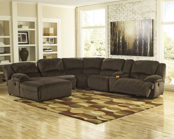 Toletta Chocolate Polyester 6pc Sectional w/RAF Power Recliner 56701-SEC-S3
