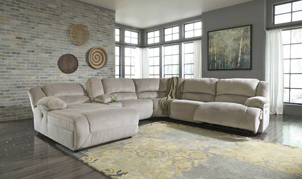 Toletta Granite 6pc Power Sectional W/LAF Chaise & Storage Console 56703-LR-SEC4