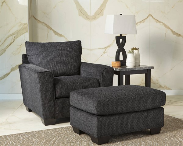 Wixon Contemporary Slate Fabric Solid Wood Chair & Ottomans Set 57002-CHO