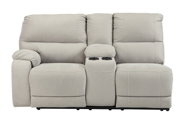 Bohannon Putty Fabric LAF Double Reclining Power Console Loveseat 5740101