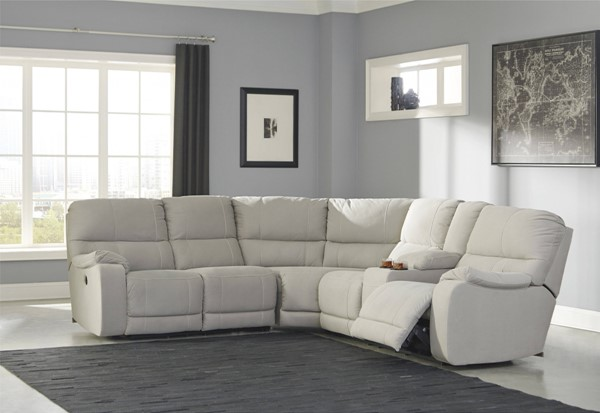 Bohannon Contemporary Putty Fabric LAF Reclining Power Loveseat 5740163