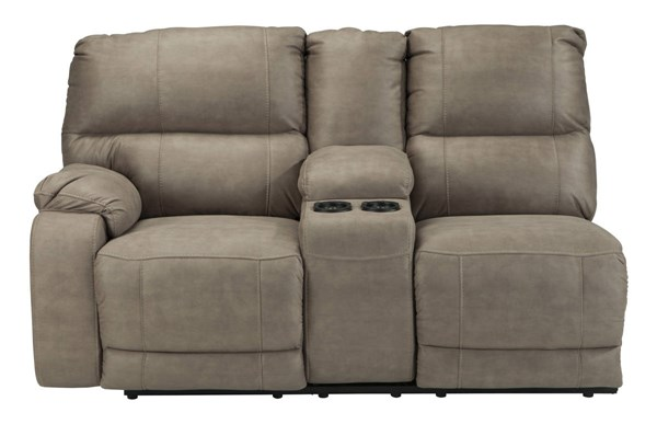 Bohannon Taupe Fabric LAF Double Reclining Power Console Loveseat 5740301