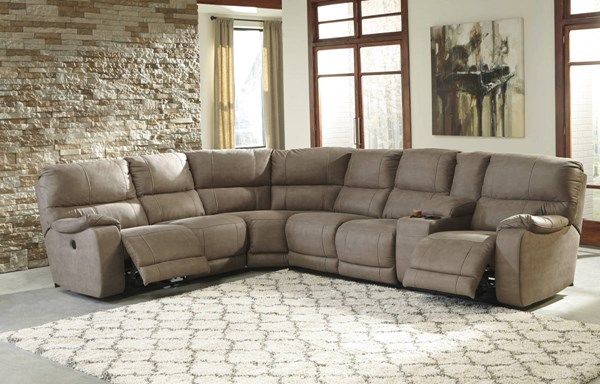 Bohannon Taupe Fabric RAF Double Reclining Power Console Loveseat 5740390