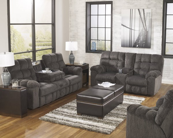 Acieona contemporary slate fabric living room set living for Best living room set deals