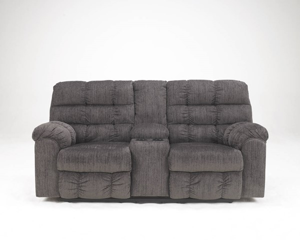 Acieona Contemporary Slate Fabric Double Recliner Loveseat W/Console 5830094