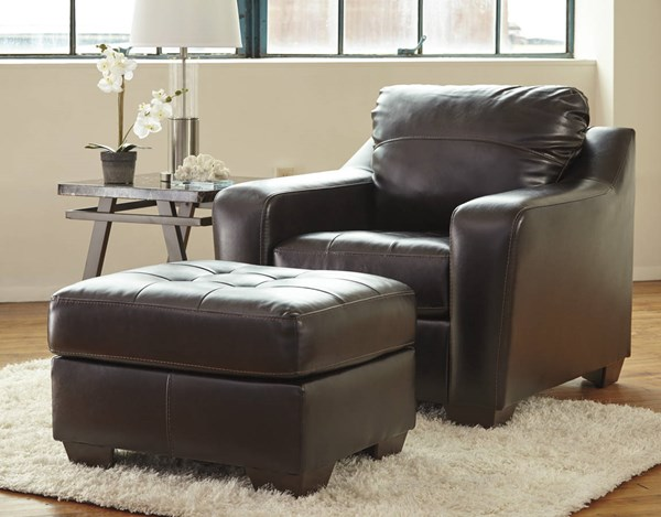 Coppell DuraBlend Contemporary Chocolate PVC Wood Chair & Ottomans Set 59001-CHO
