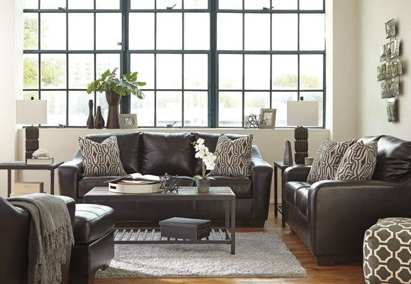 Coppell DuraBlend Contemporary Chocolate PVC Wood 3pc Living Room Set 59001-LR-CH-S1