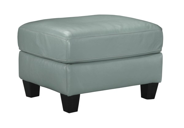 OKean Contemporary Sky Leather Solid Wood Ottoman 5910314