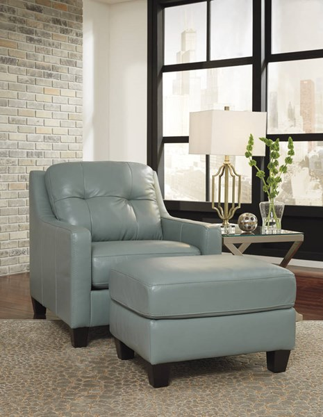 OKean Contemporary Sky Leather Solid Wood Chair & Ottoman Set 59103-CHO-S1