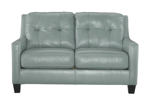 OKean Contemporary Sky Leather Solid Wood Loveseat 5910335